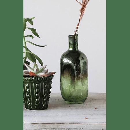 Botella vidrio verde opalescente