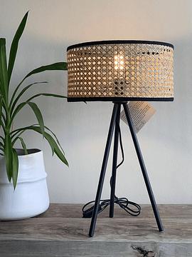 Lámpara fibra trípode negro