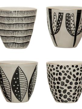 Set vasos cerámica borde dorado