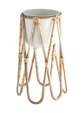 Macetero blanco base bambú