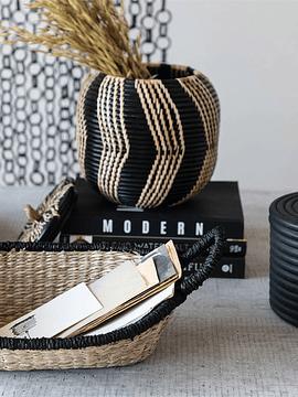 Canasto fibra borde negro