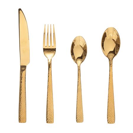 Set cuchillería dorado martillado