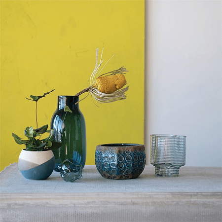 Florero vidrio azul