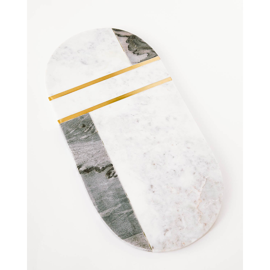Tabla ovalada mármol bronce