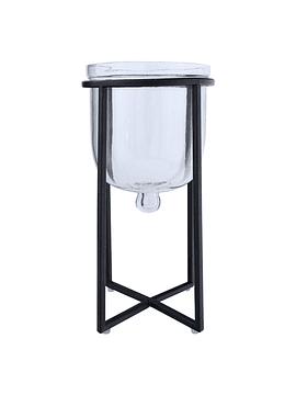 Macetero vidrio base negra