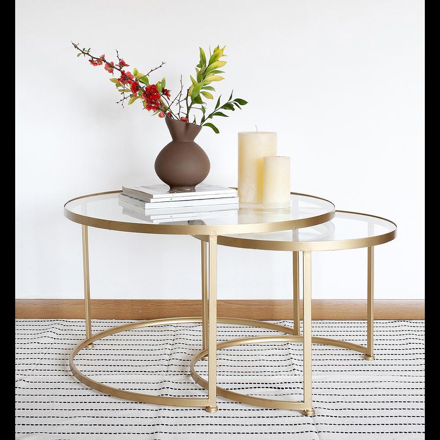 Set mesas nido doradas