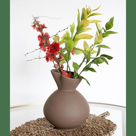 Jarrón cerámica café