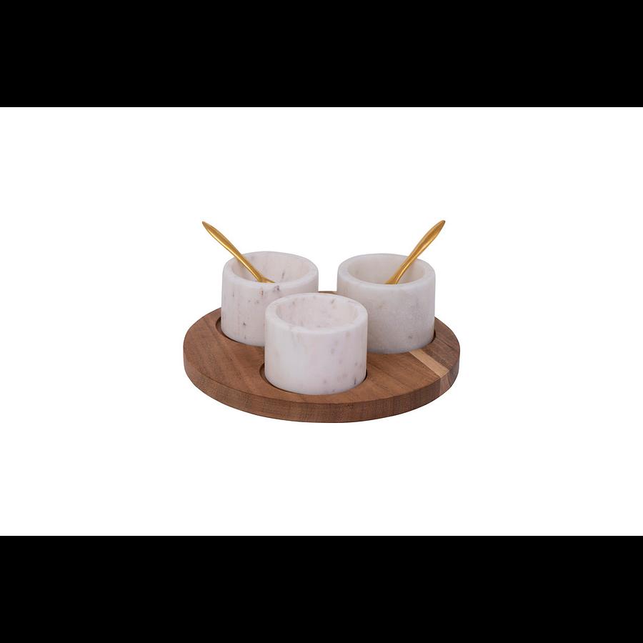 Set tabla bowls blancos mármol