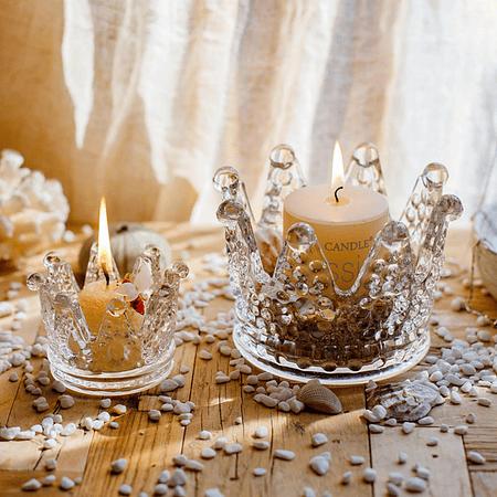 Corona vidrio porta vela