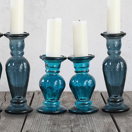 Candelabros vidrio azules