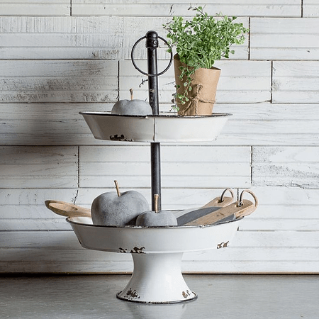 Pedestal metálico blanco