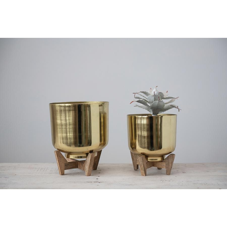 Maceteros dorados base madera