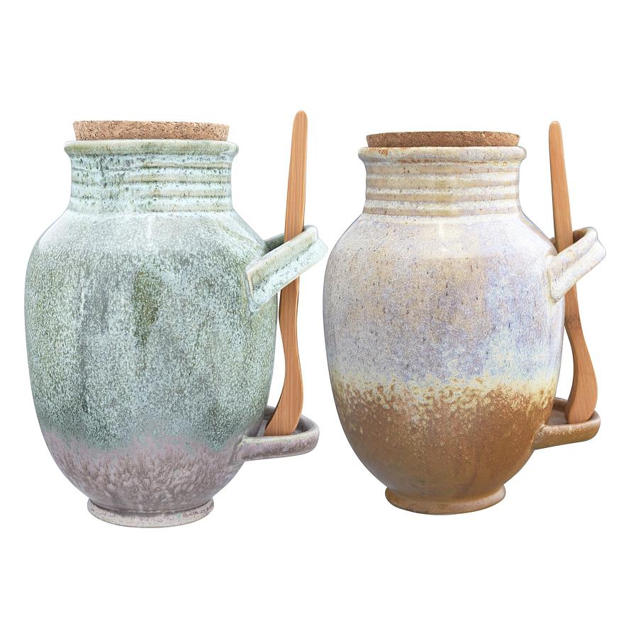 Contenedores cerámica pinza bambú