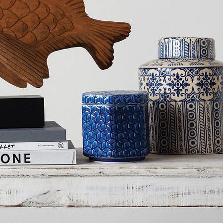 Contenedor azul cerámica