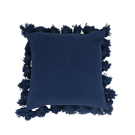 Cojín azul borlas