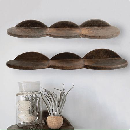 Repisa madera triple envejecida