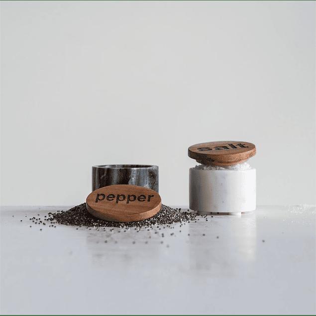 Salero pimentero mármol