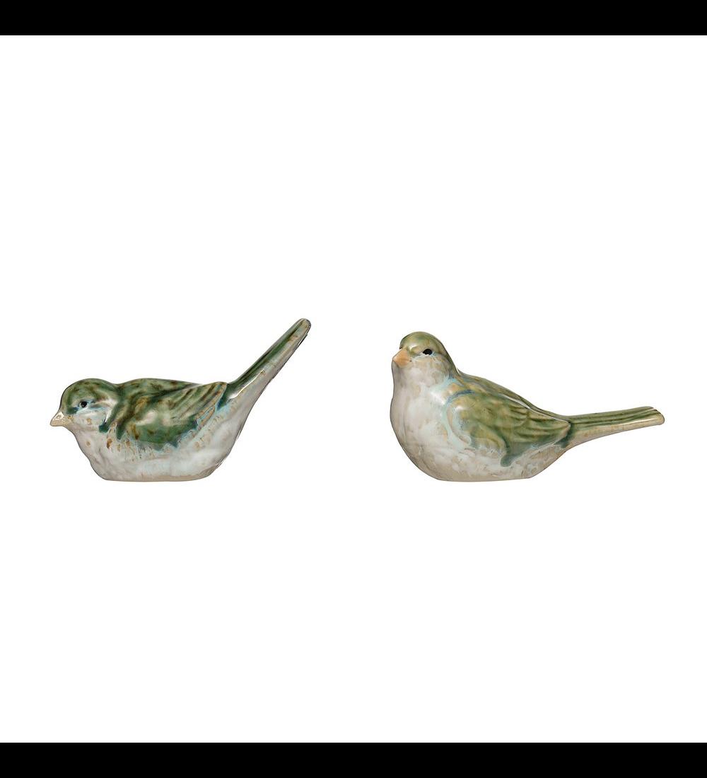 Set Pájaros verdes cerámica