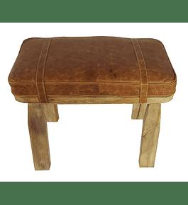 Taburete cuero y madera