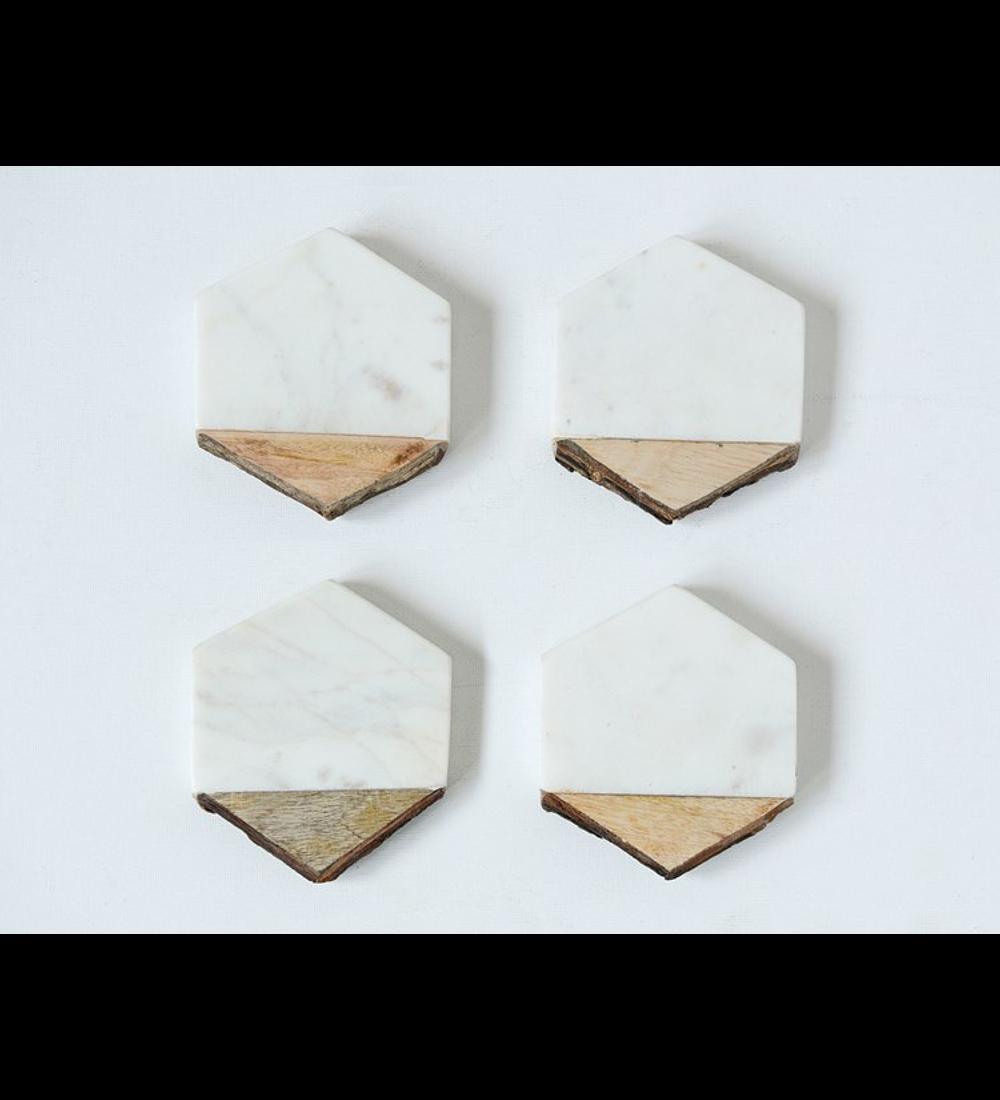Posa vasos madera y mármol