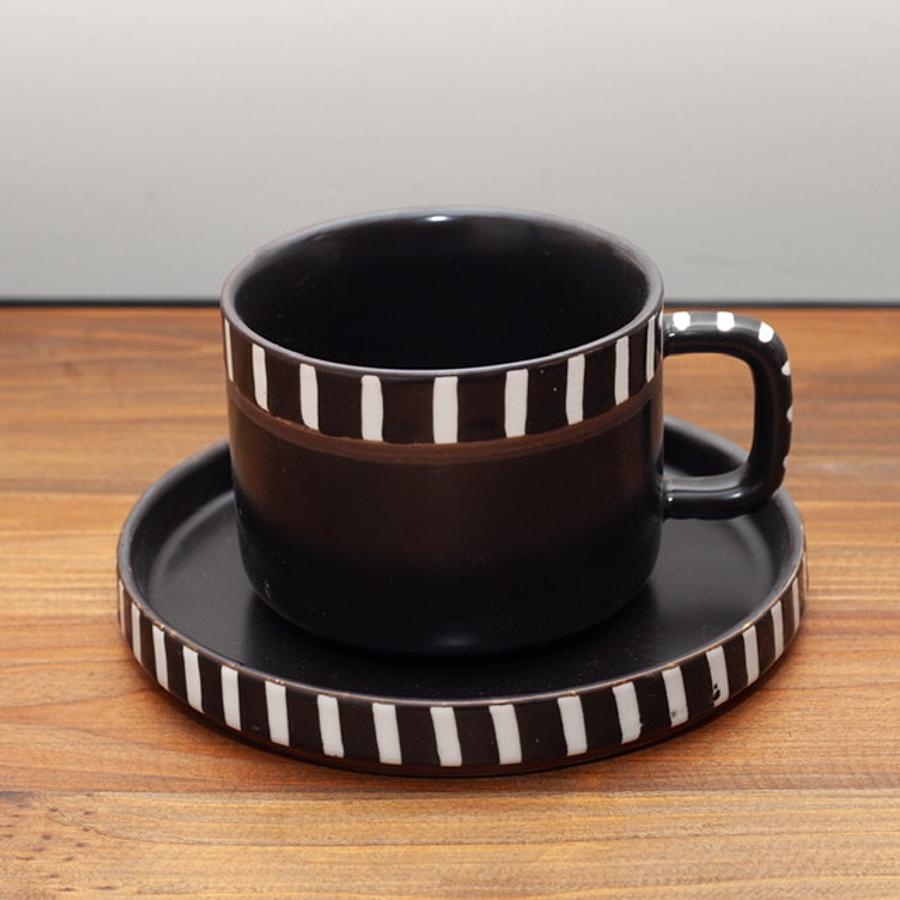 Taza y plato cerámica