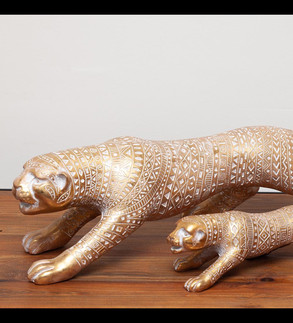 Jaguar dorado resina