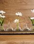 Bandeja metálica floreros vidrio