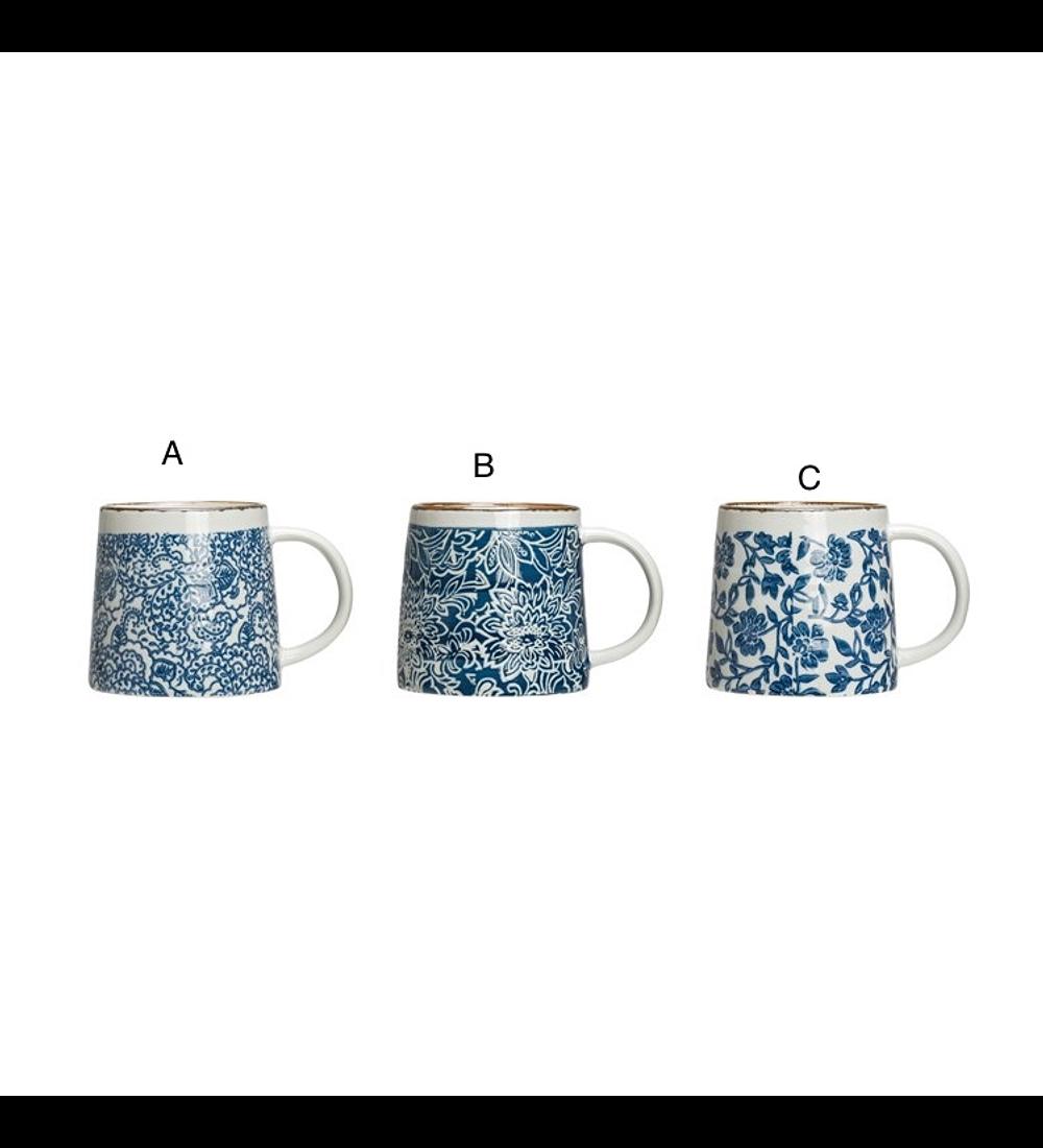 Taza cerámica flor azul