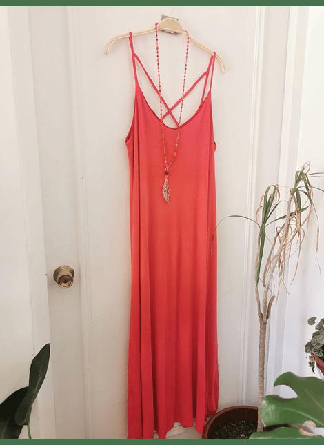 vestido UMMA bicolor coral rojo