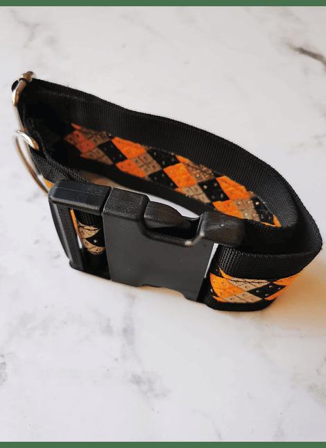 collar perro XL naranjo rombos