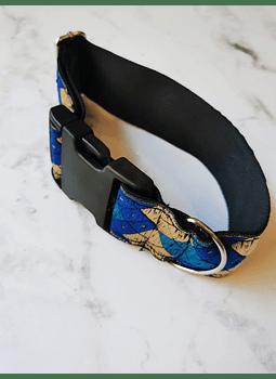 collar perro XL azul rombos