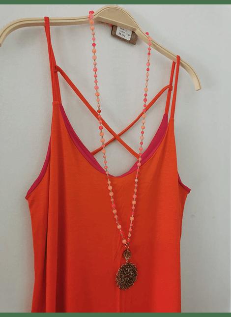 vestido UMMA bicolor naranjo fuccia