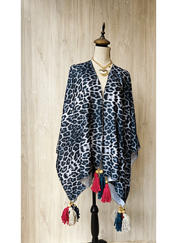 ponchos animal print negro