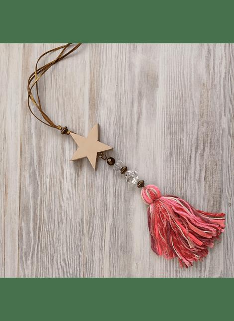 colgante estrella madera country mini rosa