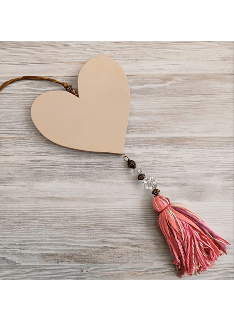 colgante corazon madera country rosa grande