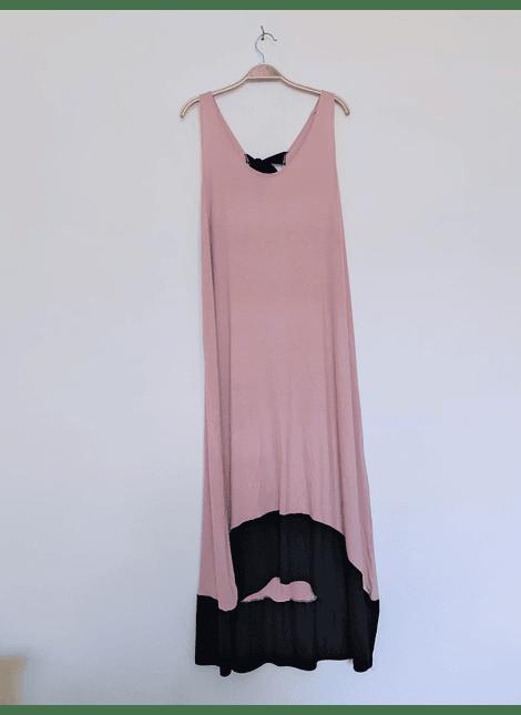 vestidos bicolor rosa negro