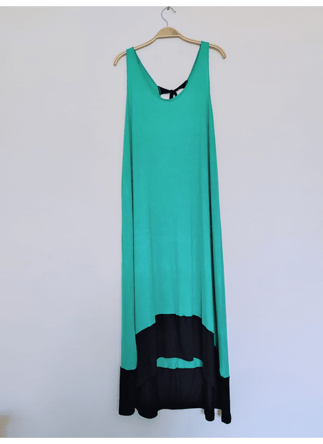 vestidos bicolor verde negro