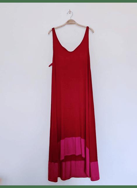 vestidos bicolor rojo