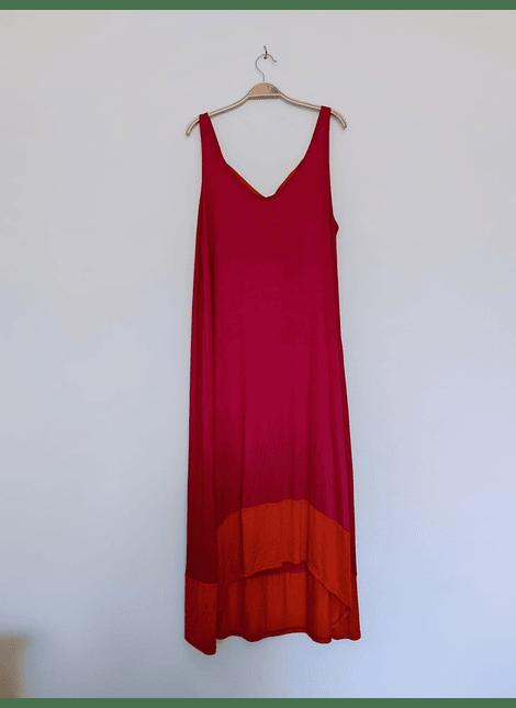 vestidos bicolor fuccia naranjo