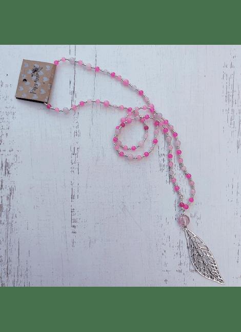 collar mix rosa plateado hoja
