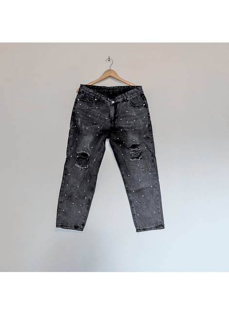 jeans mom perlitas negro