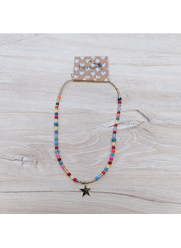 Collar corto cristal multicolor estrella grande