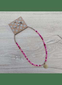 Collar cristal corto multicolor fucsia loto