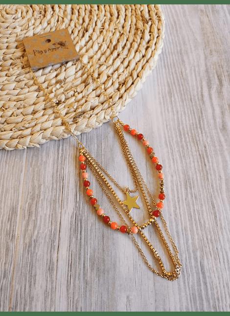 Collar japon orange estrella