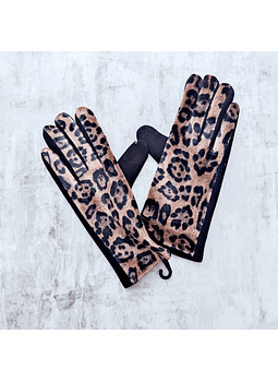 Guantes animal print camel