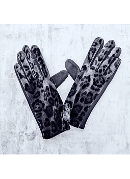 Guantes animal print gris