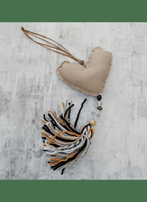 Colgante corazon country lino beige