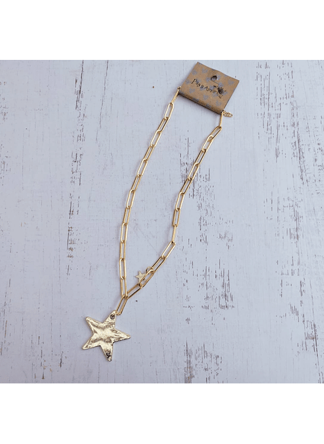 Colla eslabon largo estrella dorado