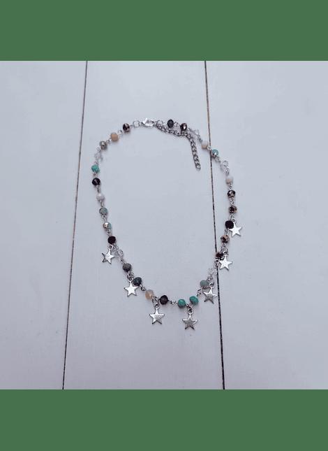 collar choker cristal multicolor plateado
