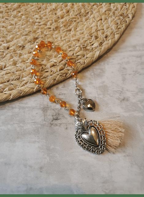 pulsera cristal detente plateado naranja